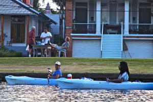 Neighbors and Kayakers Bayou St John New Orleans Louisiana